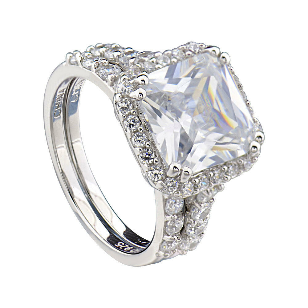 Sterling silver cushion cut cubic zirconia engagement for Sterling silver cubic zirconia wedding rings