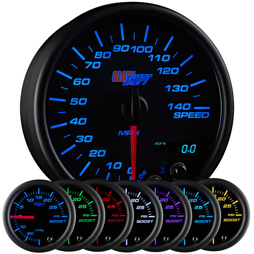 Electronic Speedometer Gauges : Glowshift quot black color speedometer gauge mph