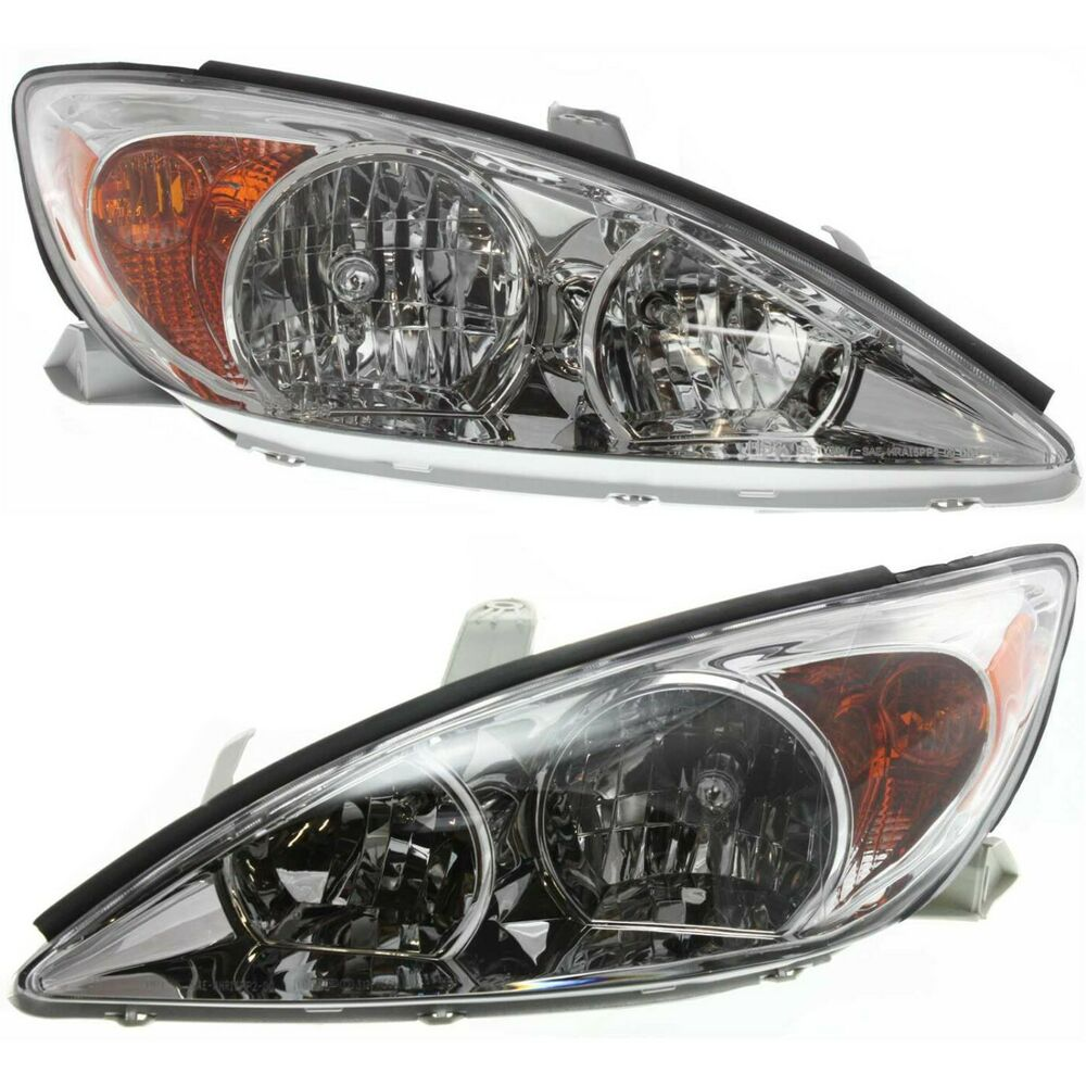 headlight set for 2002 2004 toyota camry driver and passenger side w bulb. Black Bedroom Furniture Sets. Home Design Ideas