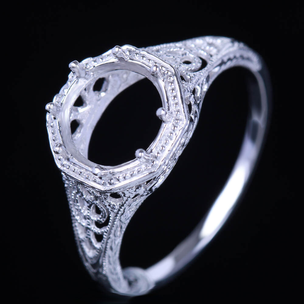 Solid 10k white gold 8mm round vintage filigree engagement for Wedding ring mounts