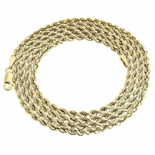 Mens Ladies 1/10th 10K Yellow Gold 3.30 MM Hollow Rope ...