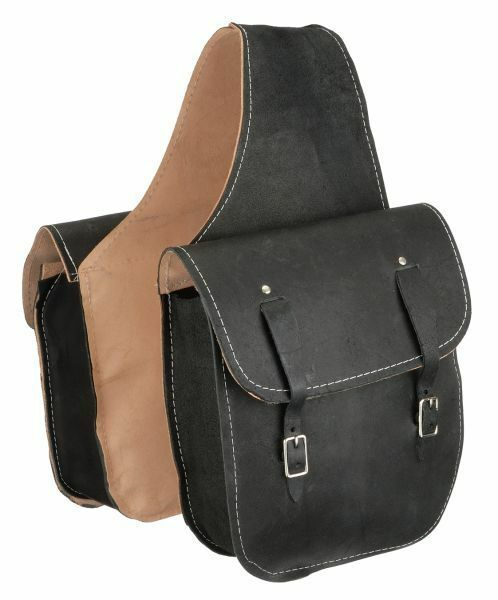 Black Leather Western Trail Horse Saddle Bag Or Motorcycle