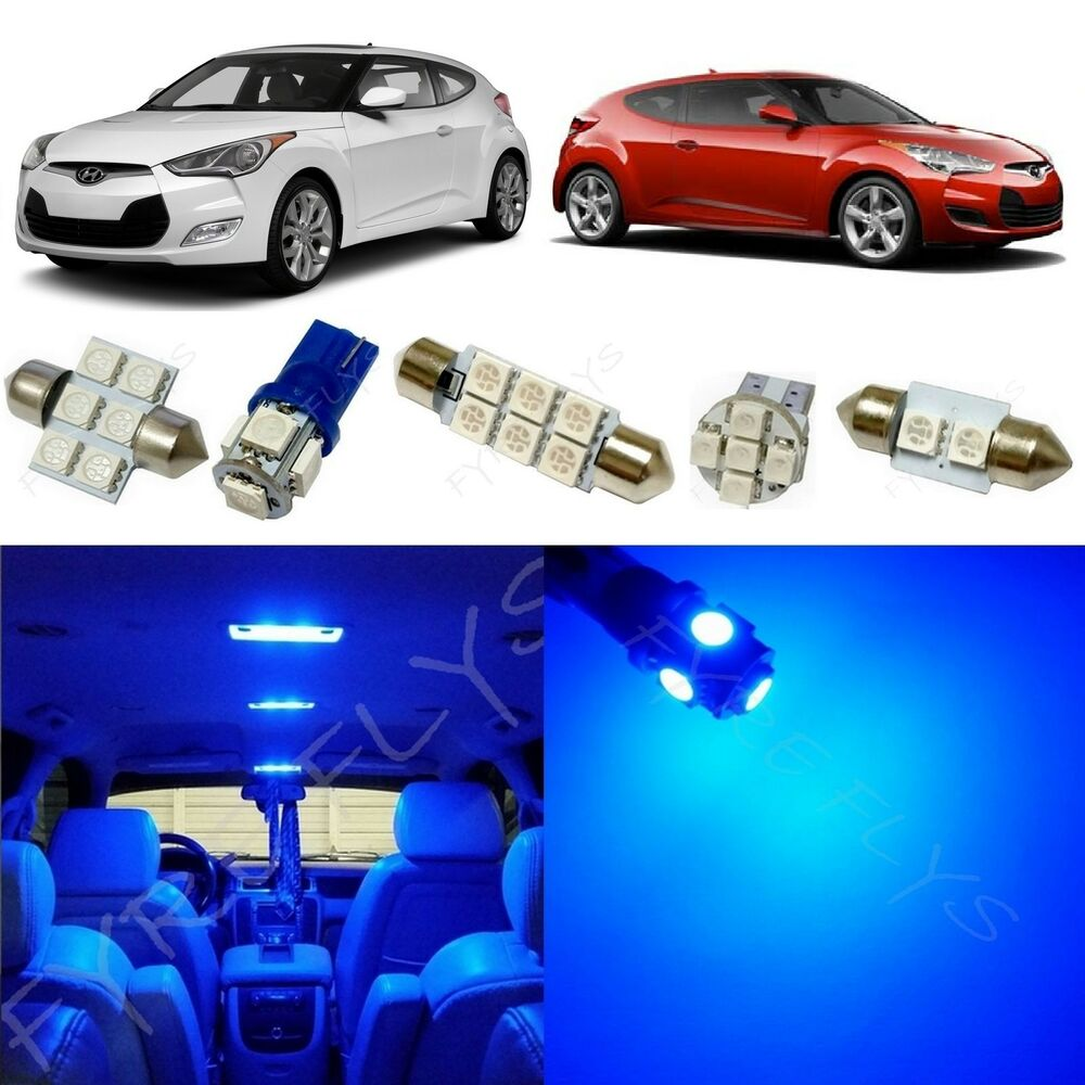2017 Hyundai Veloster Interior: 8x Blue LED Lights Interior Package Kit For 2012-2017