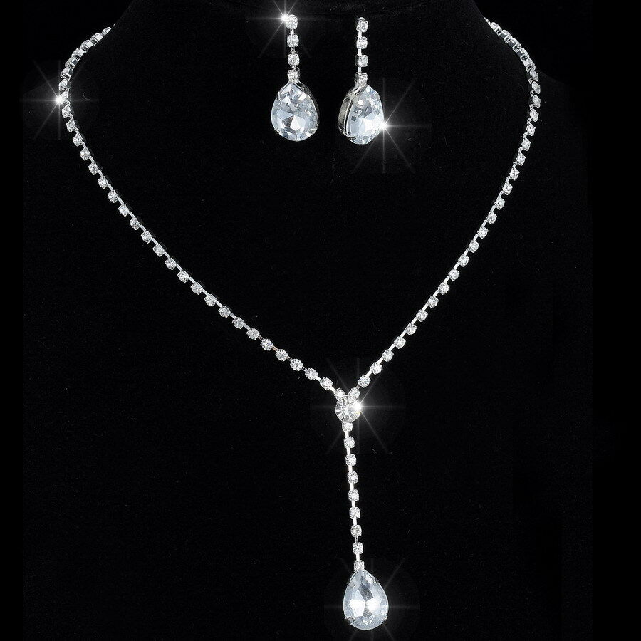 Wedding Jewelry Gift For Bride : ... Wedding Necklace Earrings Jewelry Set Bridal Bridesmaid Gift eBay