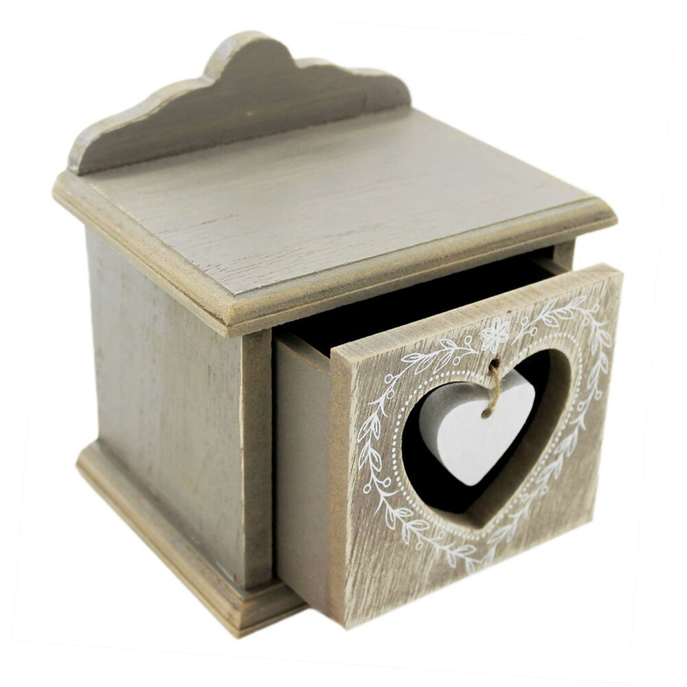 Rustic Heart Decorative Storage Box With Drawer Vintage