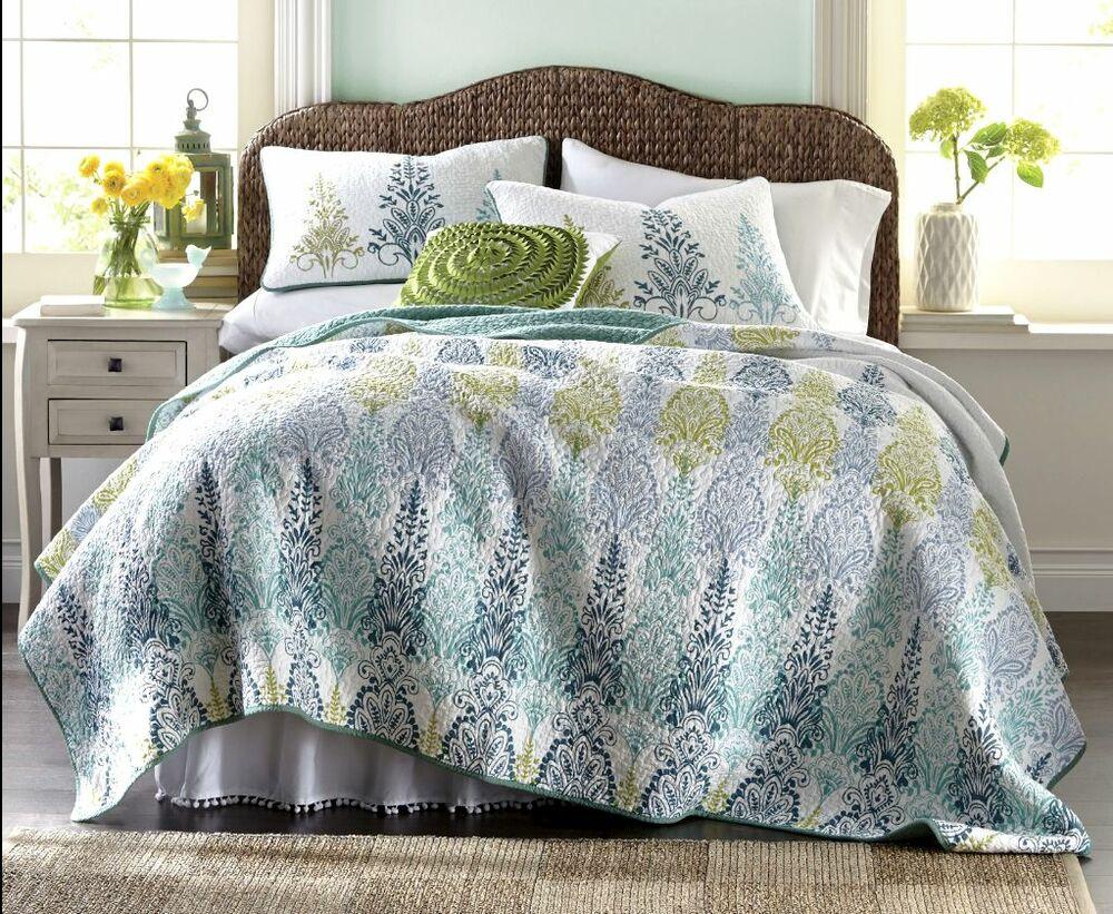 BLUE PEACOCK 5pc Full / Queen QUILT SET : FLORAL GREEN