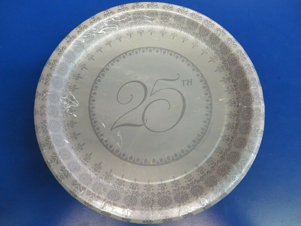 Wedding Elegance 25th Silver Anniversary 25 Years Party 9 Paper Dinner Plates Ebay