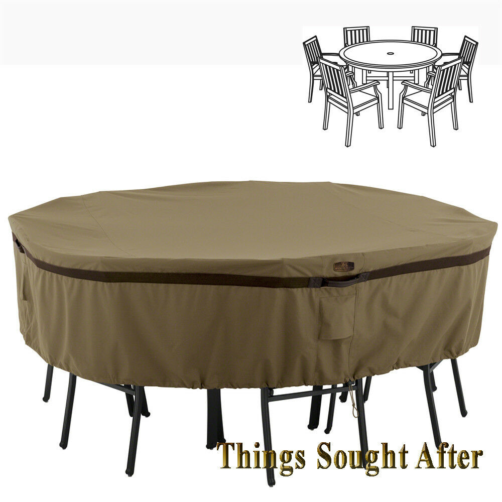 Cover for large round patio table chair set outdoor for Covered deck furniture