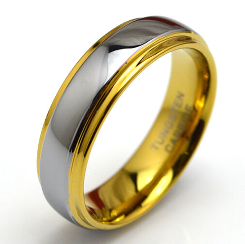 wedding ring mens tungsten carbide yellow gold gf mens womens wedding band 9967