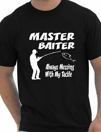 Master baiter funny fishing t shirt rude mens t shirt size for Funny fishing t shirts