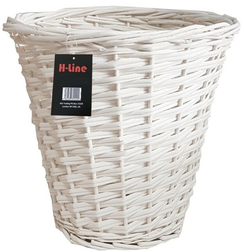 Wicker willow basket white storage bin waste paper for Waste baskets for bathroom