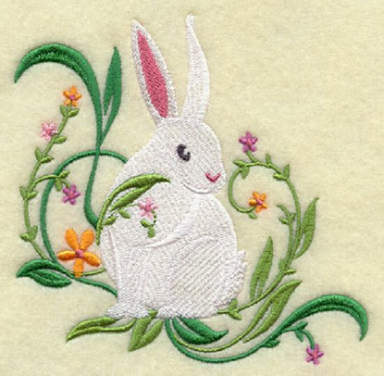 Springtime bunny set of bath hand towels embroidered by