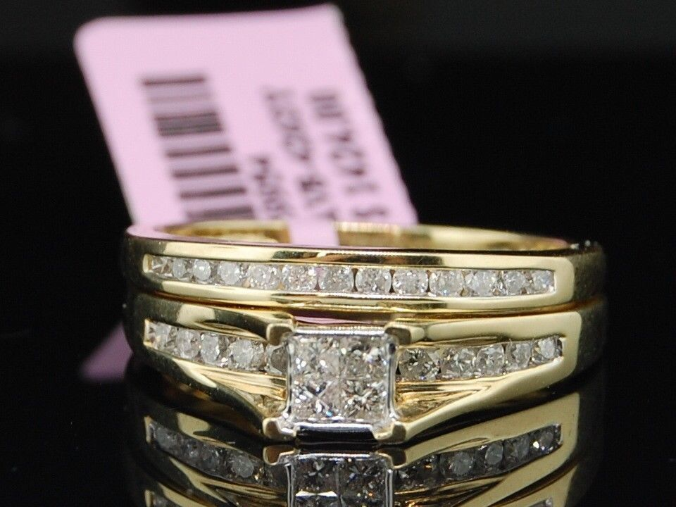 princess cut diamond bridal set k yellow gold engagement