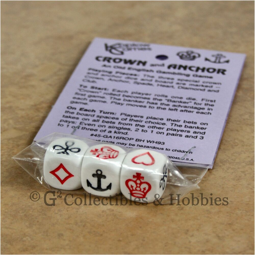 New crown and anchor old english gambling game dice set ebay
