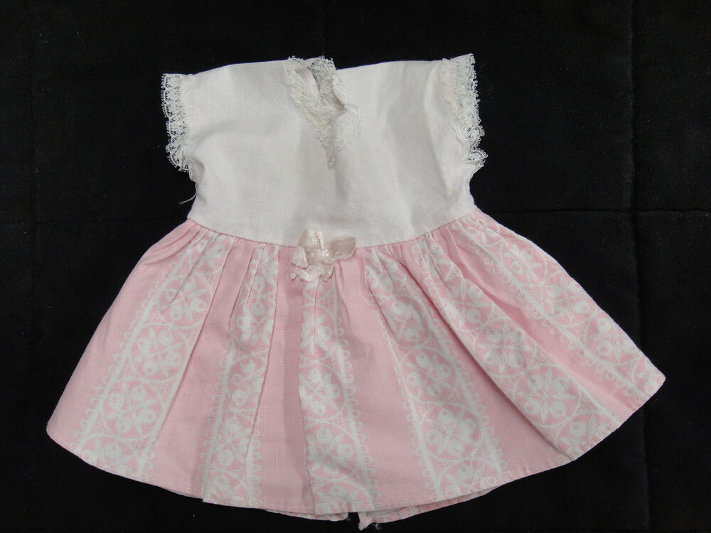 Vintage Horsman Baby Doll Dress Pink and White Lace Trim