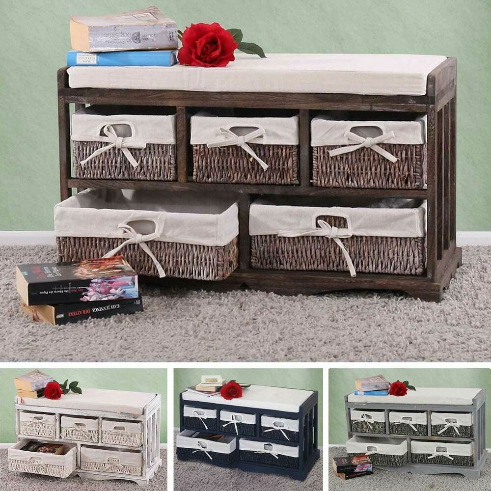 kommode sitzbank mit 5 schubladen 77x45x36cm shabby look vintage ebay. Black Bedroom Furniture Sets. Home Design Ideas