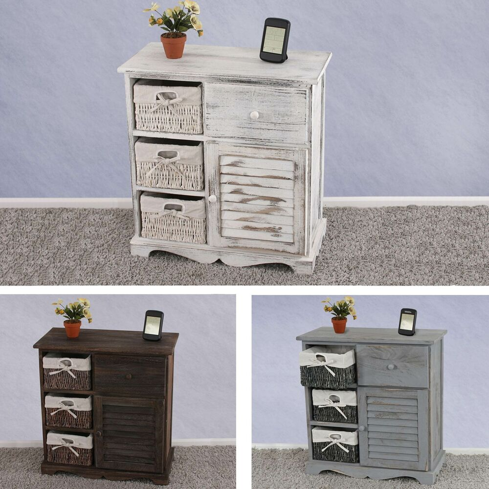 kommode schrank mit 3 k rben 63x60x30cm shabby look. Black Bedroom Furniture Sets. Home Design Ideas