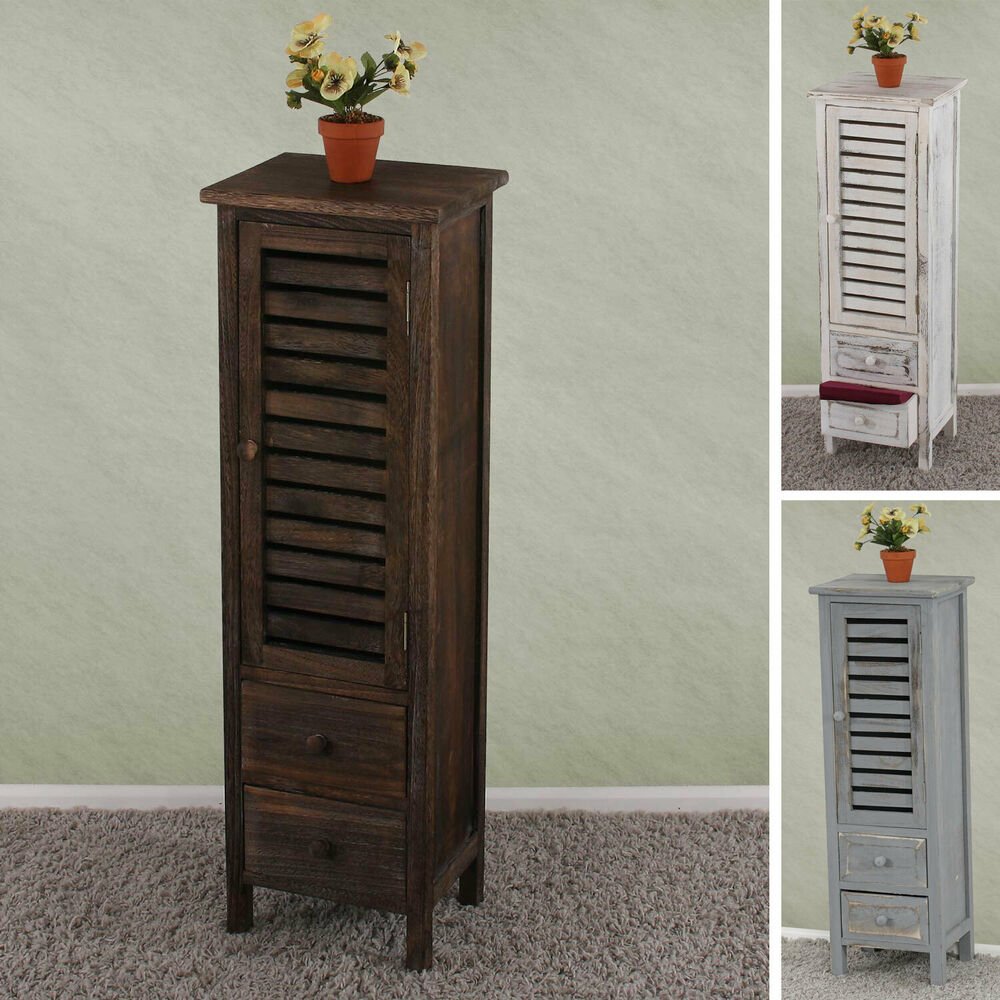 kommode schrank 90x30x25cm shabby look vintage wei braun grau ebay. Black Bedroom Furniture Sets. Home Design Ideas