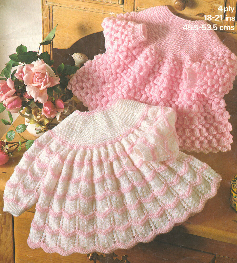 Knitting Patterns 4 Ply : Baby Knitting Pattern ~ Pretty Angel Tops Plain/Striped 18 - 21