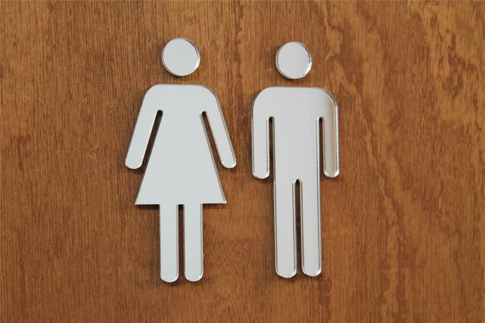 classikool mirror acrylic toilet door sign his hers male female wc bathroom sign ebay. Black Bedroom Furniture Sets. Home Design Ideas