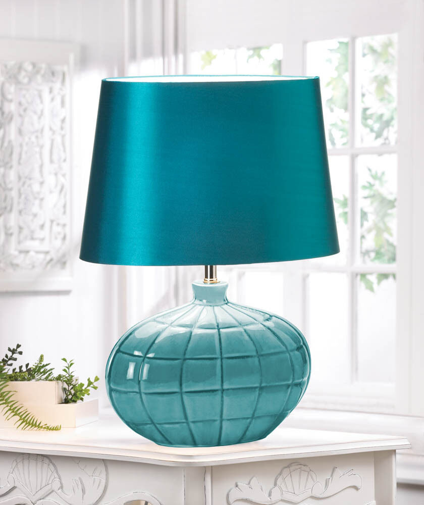 Gallant Turquoise Teal Table Lamp Amp Silken Shade Decor New