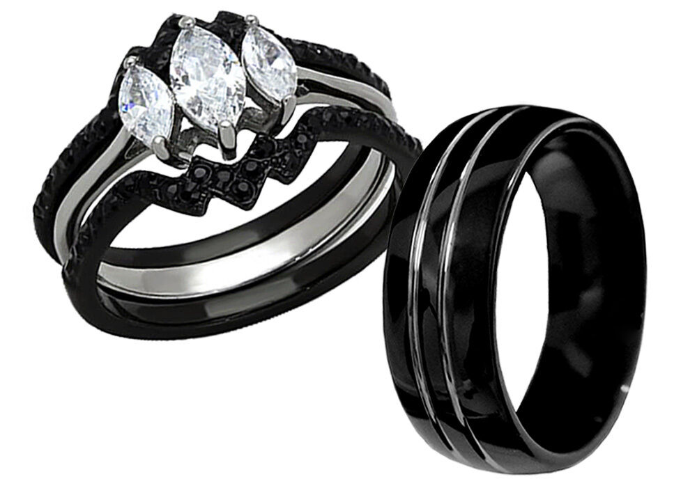 His Tungsten Hers Black Stainless Steel 4 Pcs Wedding Engagement Ring