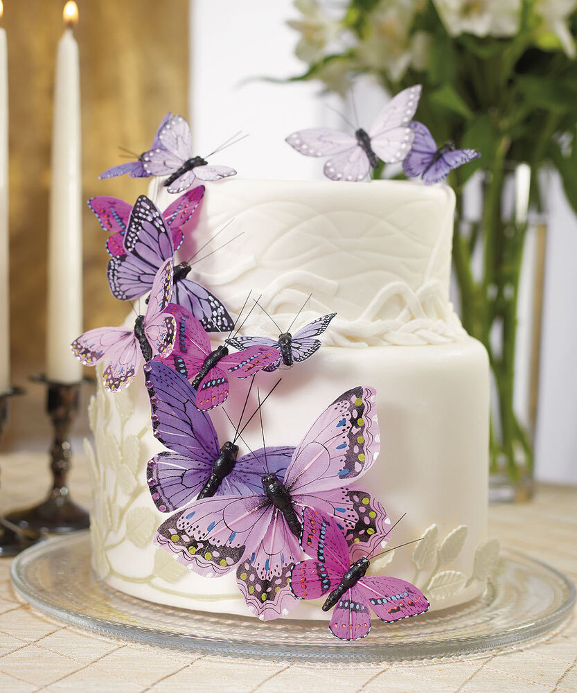 Purple Wedding Cake Ideas: Purple Butterfly Butterflies Wedding Cake Decorations