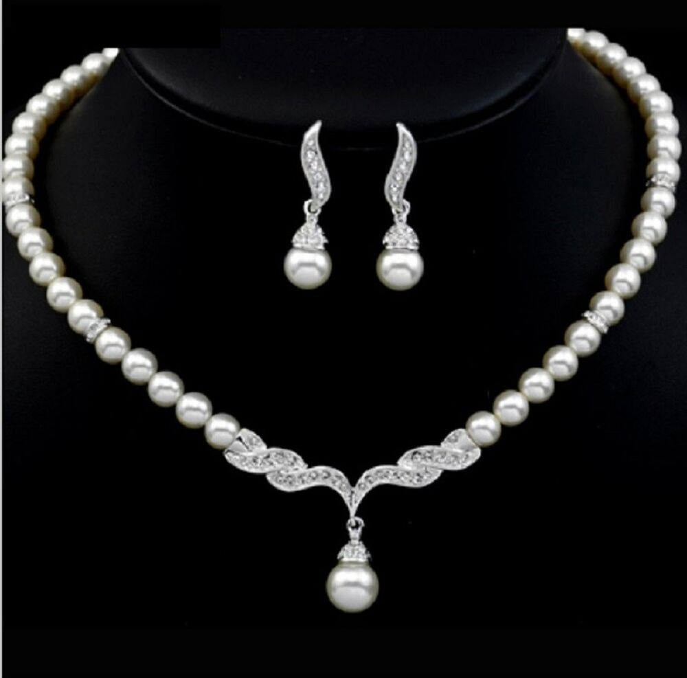White Ivory Pearls Wedding Bridal Bridesmaid Prom ...
