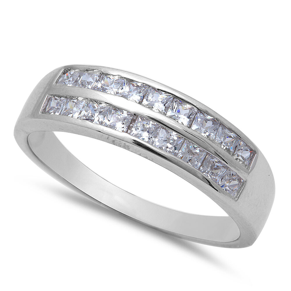 cut fine cz wedding band 925 sterling silver ring size 8 12 ebay