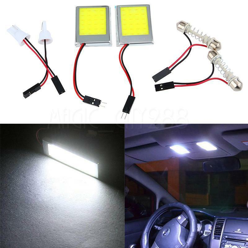 2xt10 24smd cob led panel interior white dome car light lamp festoon adapter 12v ebay for Led car interior lights ebay