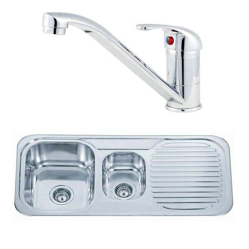 kitchen sink taps ebay 1 5 bowl stainless steel inset kitchen sink and small 5987