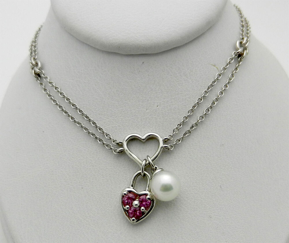 real 14k white gold lock pearl charm pendant