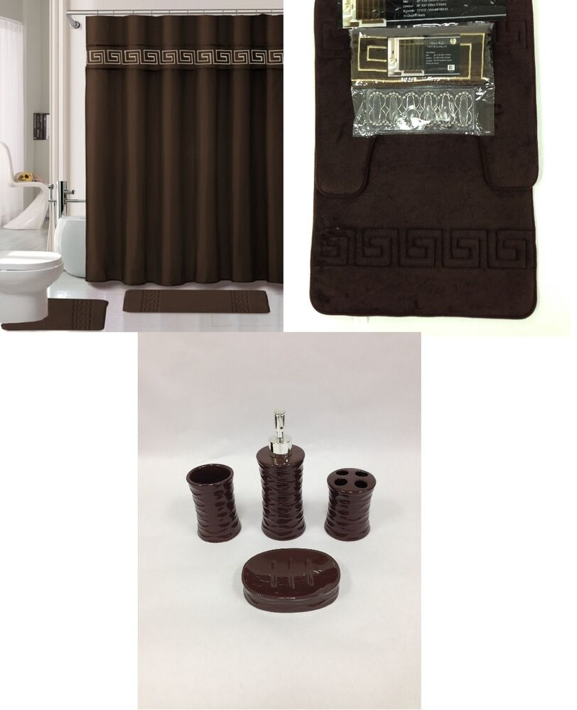 19 piec bath accessory set memory foam coffee brown for Brown bathroom accessories sets
