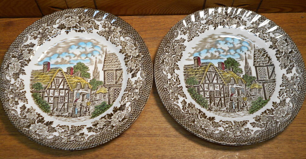 two pottery plates royal tudor merrie olde england grindley of stoke ebay. Black Bedroom Furniture Sets. Home Design Ideas