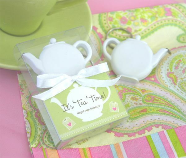 Teapot Tea Party Keychain Measuring Tape Wedding Bridal Shower