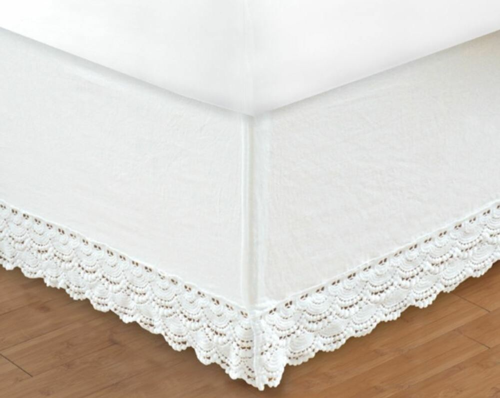 white crochet twin full queen king bedskirt cottage vintage bed skirt ruffle ebay. Black Bedroom Furniture Sets. Home Design Ideas