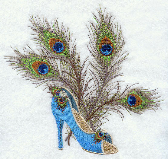 PEACOCK FASHION SET OF 2 BATH HAND TOWELS EMBROIDERED BY