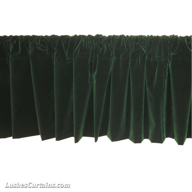 Window treatments green rod pocket curtain topper velvet for Forest green curtains drapes