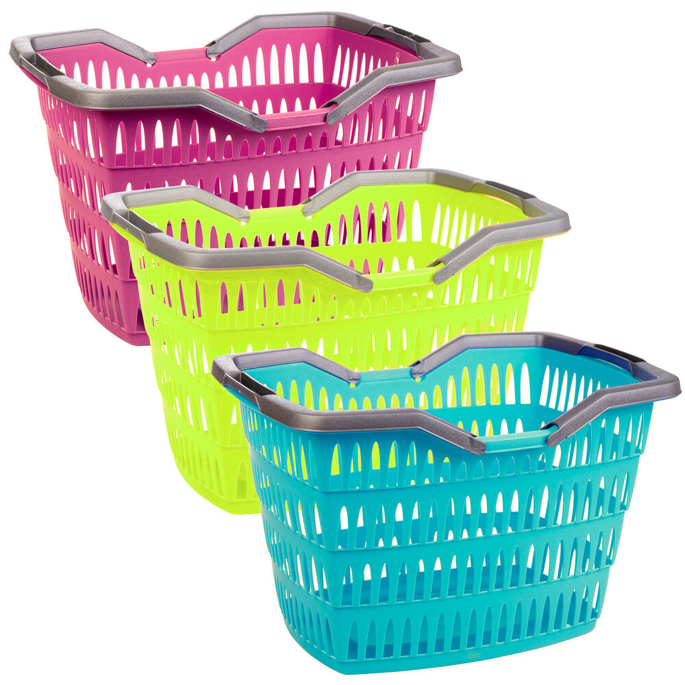 large 30 litre laundry basket with folding handles storage washing bin plastic ebay. Black Bedroom Furniture Sets. Home Design Ideas
