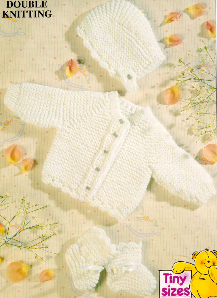 Easy Knitting Patterns Uk : Easy garter stitch baby jacket bonnet bootees premature