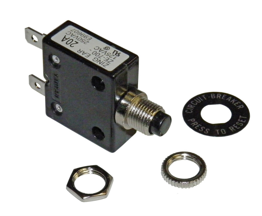 5 pieces of push button 20 amp circuit breaker for dc or. Black Bedroom Furniture Sets. Home Design Ideas