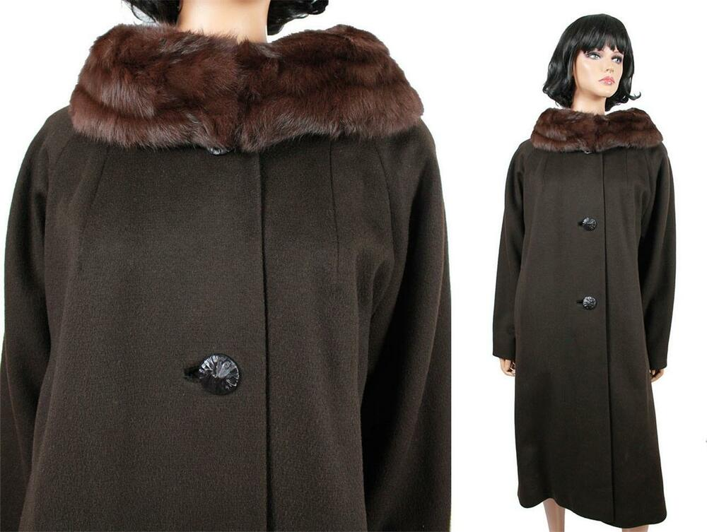 Mink Collar Winter Coat XL Vintage 60s Long Dark Brown ...