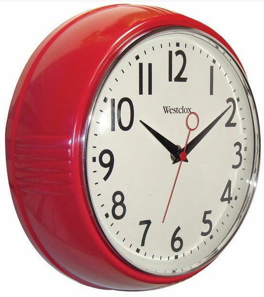 westclox retro look red kitchen 9 5 wall clock second