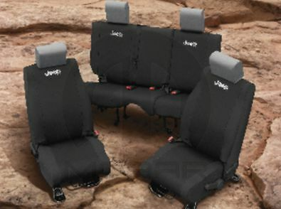 2011 2012 Jeep Wrangler 4 Door Black Neoprene Rear Seat
