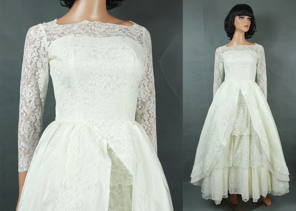 Vintage 60s Wedding Gown XXS Long Full Off White Tiered