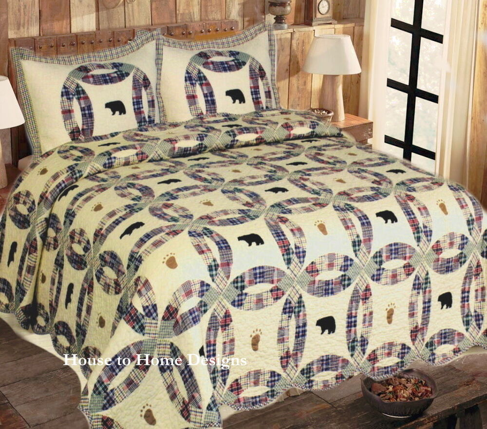 Black Bear Full Queen Quilt Set Lodge Cabin Cream Plaid