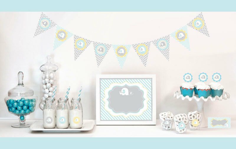 Blue elephant baby shower party decorations starter kit ebay for Baby shower decoration kits boy