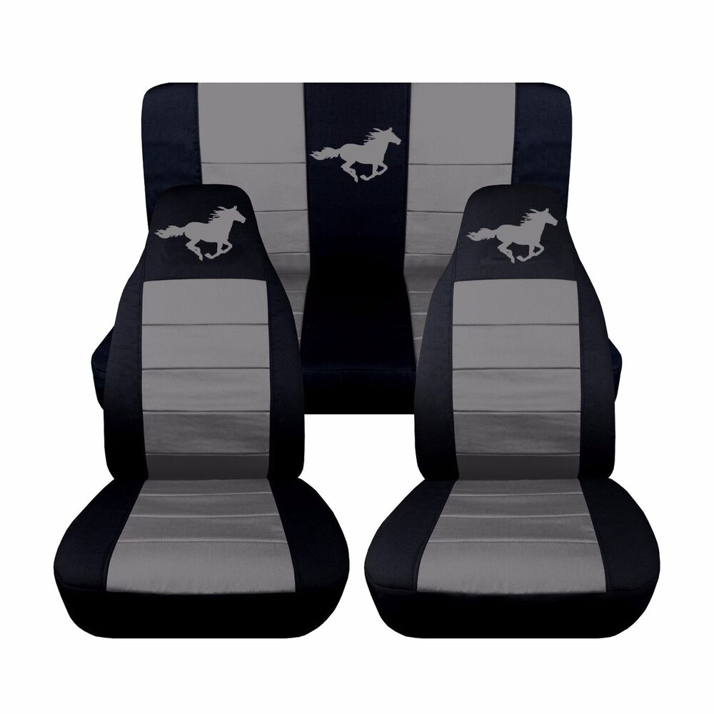 fits a 1994 to 2004 ford mustang coupe horse seat covers variety of colors ebay. Black Bedroom Furniture Sets. Home Design Ideas