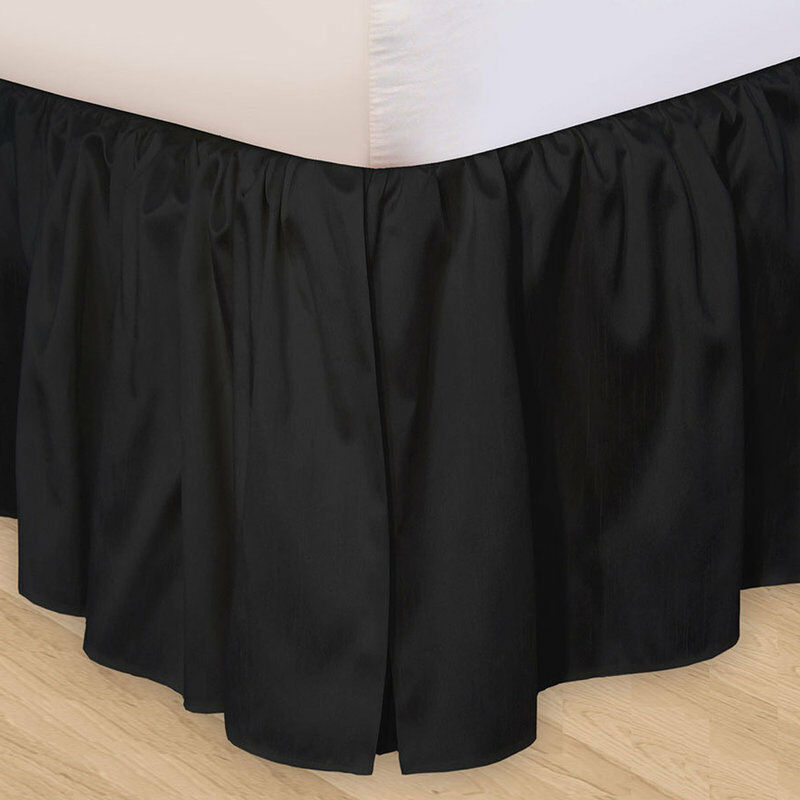 solid black twin queen or king bedskirt 100 cotton dust ruffle bed skirt ebay. Black Bedroom Furniture Sets. Home Design Ideas