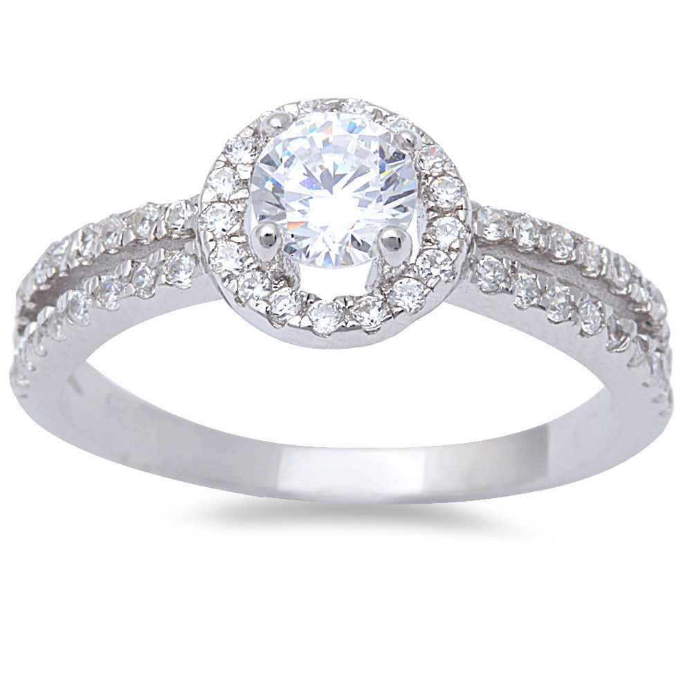 Halo Cubic Zirconia Solitaire .925 Sterling Silver Ring sizes 5-10
